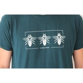T-shirt - Homme 100% coton vert bouteille une saison aux abeilles